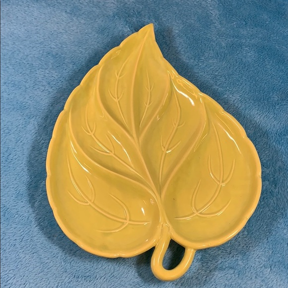 Pottery LEAF Serving Tray Candy Dish Vintage NICE!